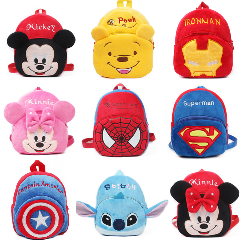 Stitch Disney Toys Plush Backpack Mickey Mouse Minnie Winnie The Pooh The Avengers Figures Children's Kindergarten School Bag