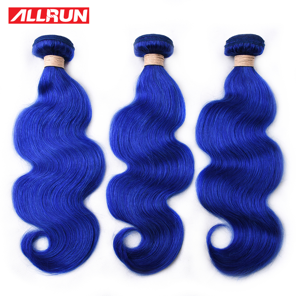 ALLRUN Indian Human Hair Weave Bundles Blue Colorful Hair Body Wave Bundles Bundles Deal Dyed Bundles Remy Hair Extensions