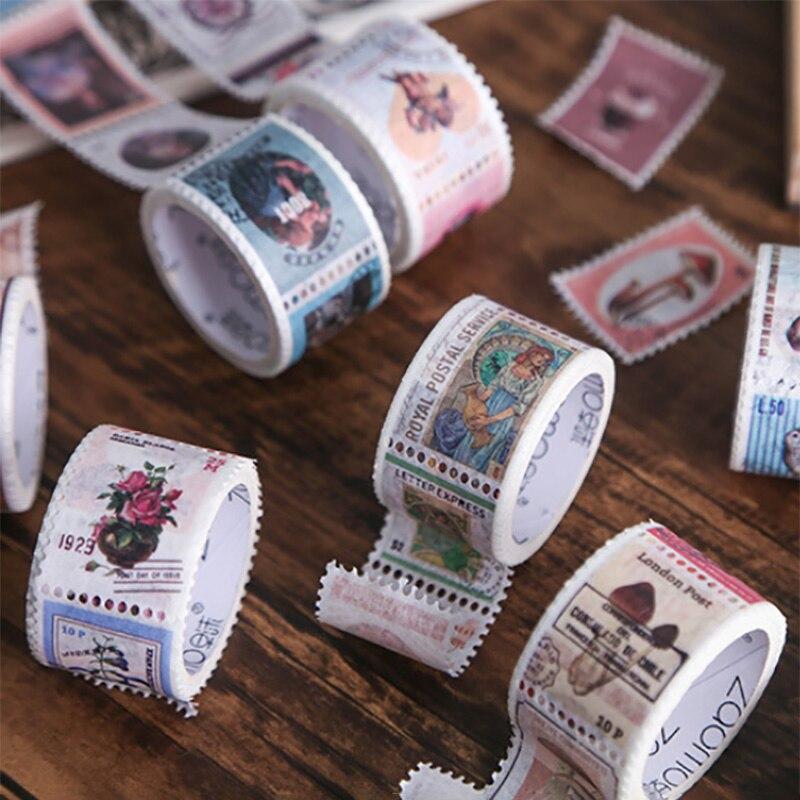 1 Roll Vintage Stamp Series Paper Washi Tape Adhesive Tape DIY Scrapbooking Sticker Label Masking Tape Album Diary