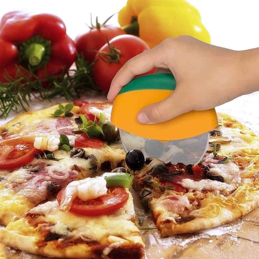 Premium Pizza kesici tekerlek paslanmaz çelik Pizza bıçağı kesici koruyucu bıçak kapağı Pizza dilimleme kesici