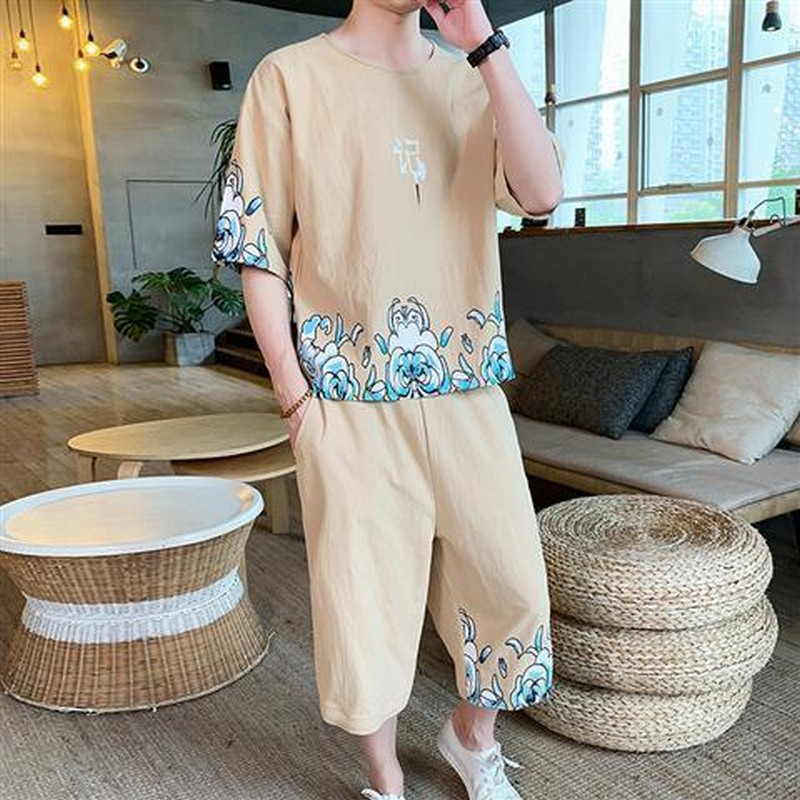2 Piece Set Short-sleeve Sweatshirt Hanfu Men Chinese Loose Tops Clothes Style Sweatpants Men's Clothing O-neck Summer Two Piece