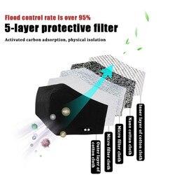 Z koreańskiej bawełny przeciwkurzowe maska ochronna na twarz PM2.5 Kpop Unisex maska z filtr węglowy KN95 przeciw pyłkom alergia grypa czarna maseczka na twarz 3