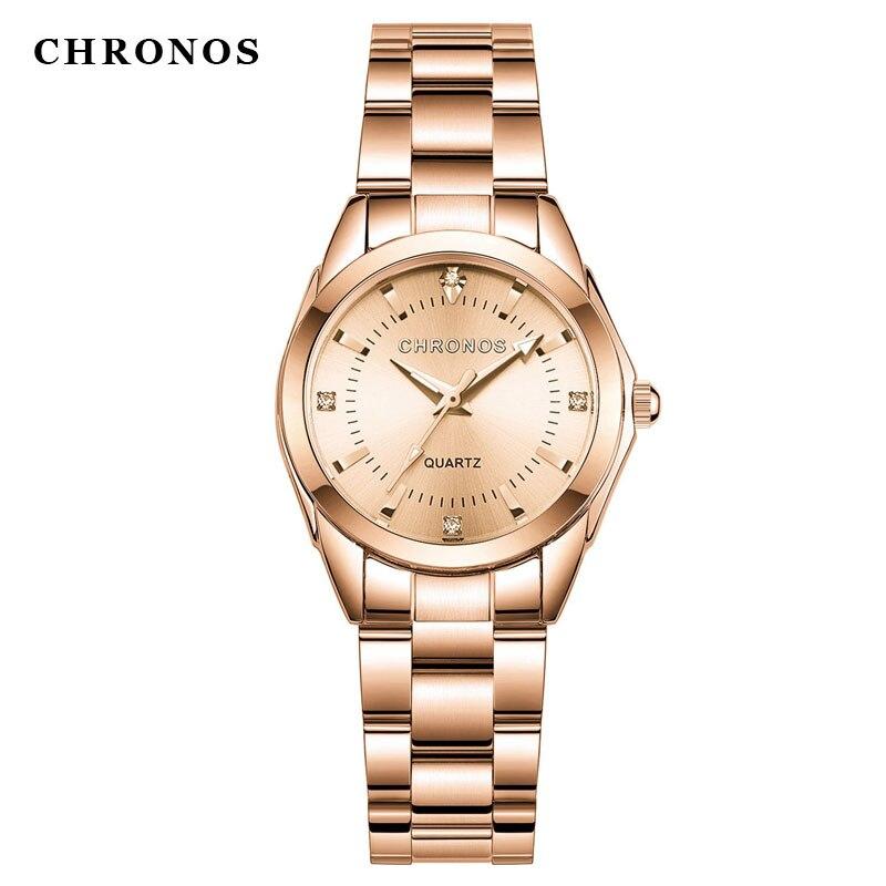 CHRONOS Gold Watch Women Watches Ladies Creative Steel Women's Bracelet Watches Female Clock Relogio Feminino Montre Femme