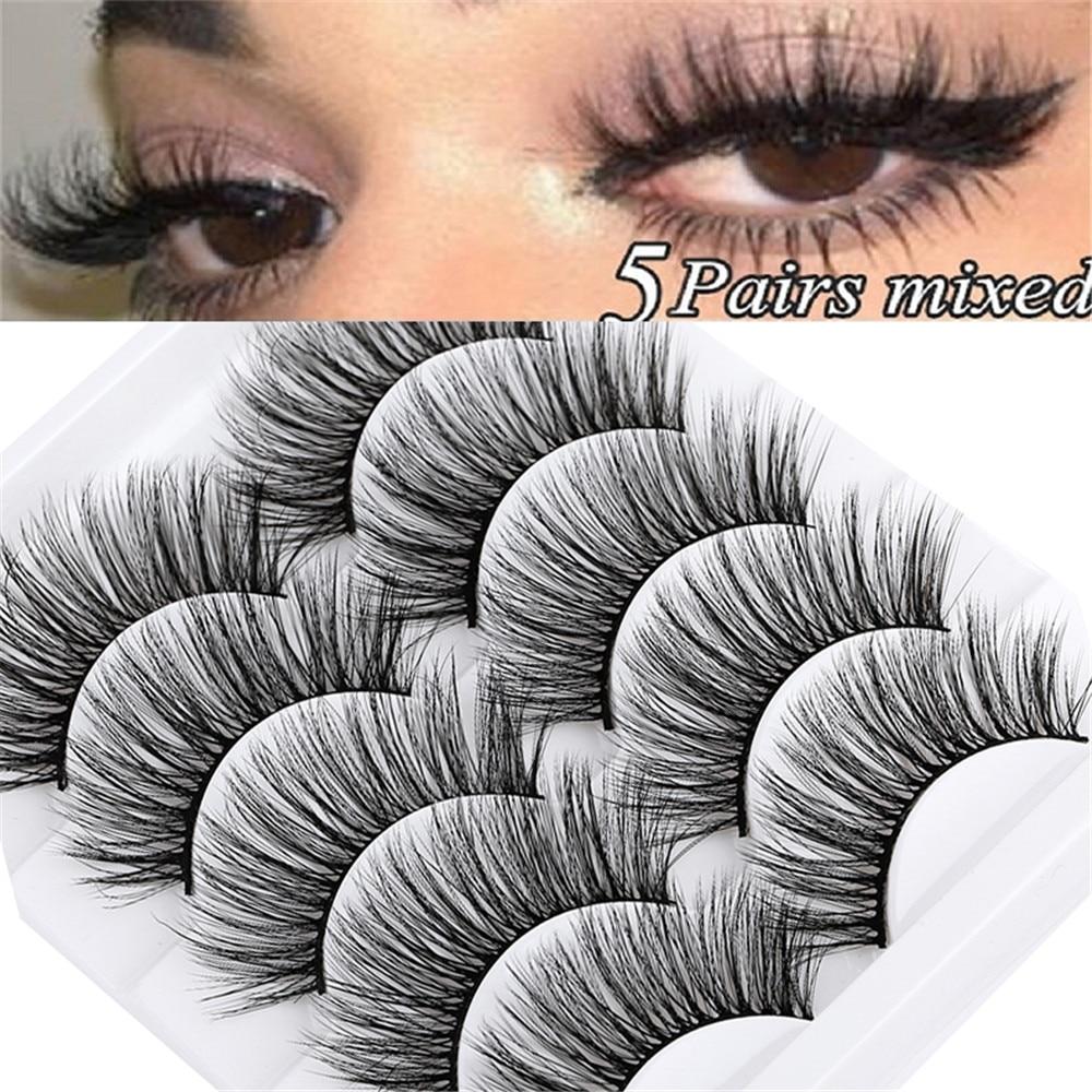 5 pairs 5D Mink Eyelashes Natural False Eyelashes Lashes Soft Fake Eyelashes Extension Makeup Wholesale(China)