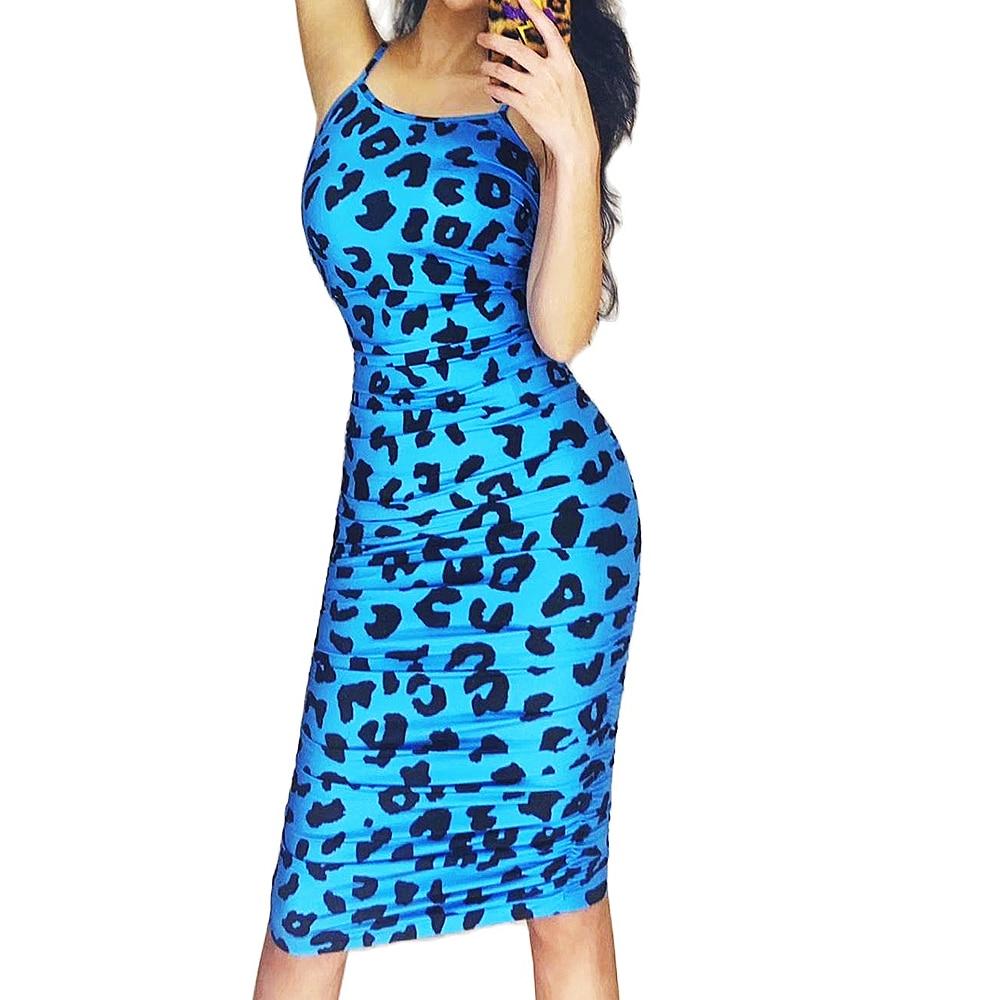 Personality Suspender Skinny Elastic Dresses Leopard Print Women Dresses Nightclub Singer Dancer Performance Stage Wear