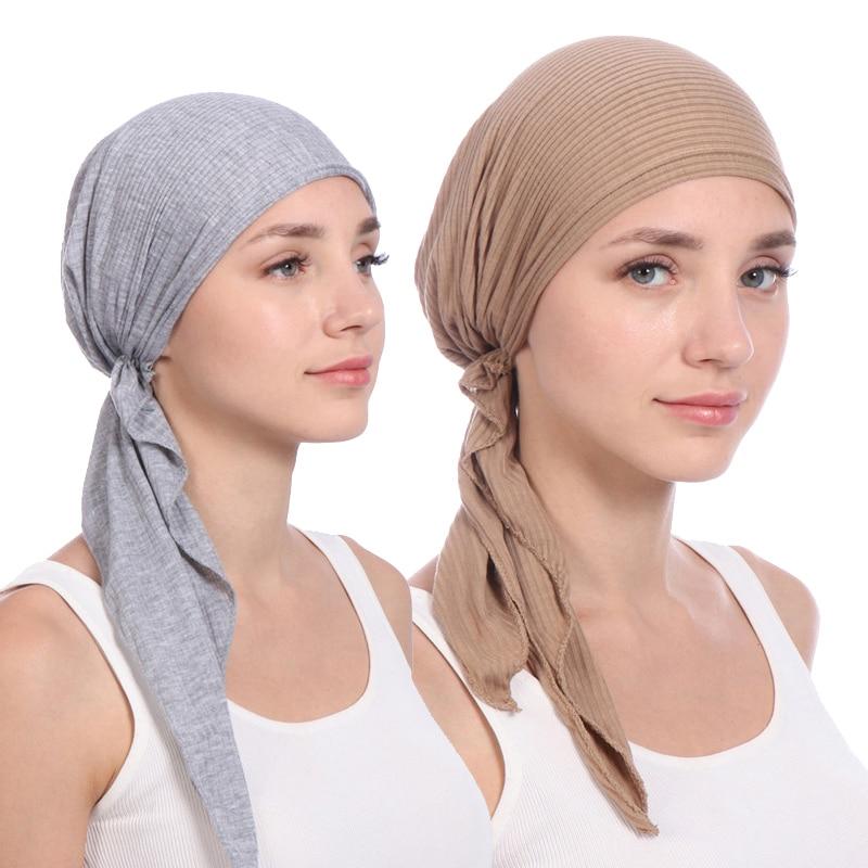 Nouveau coton élastique couleur unie wrap tête écharpe chapeaux musulman turban bonnet pour les femmes intérieur Hijab chapeau mode femmes turbantes casquettes