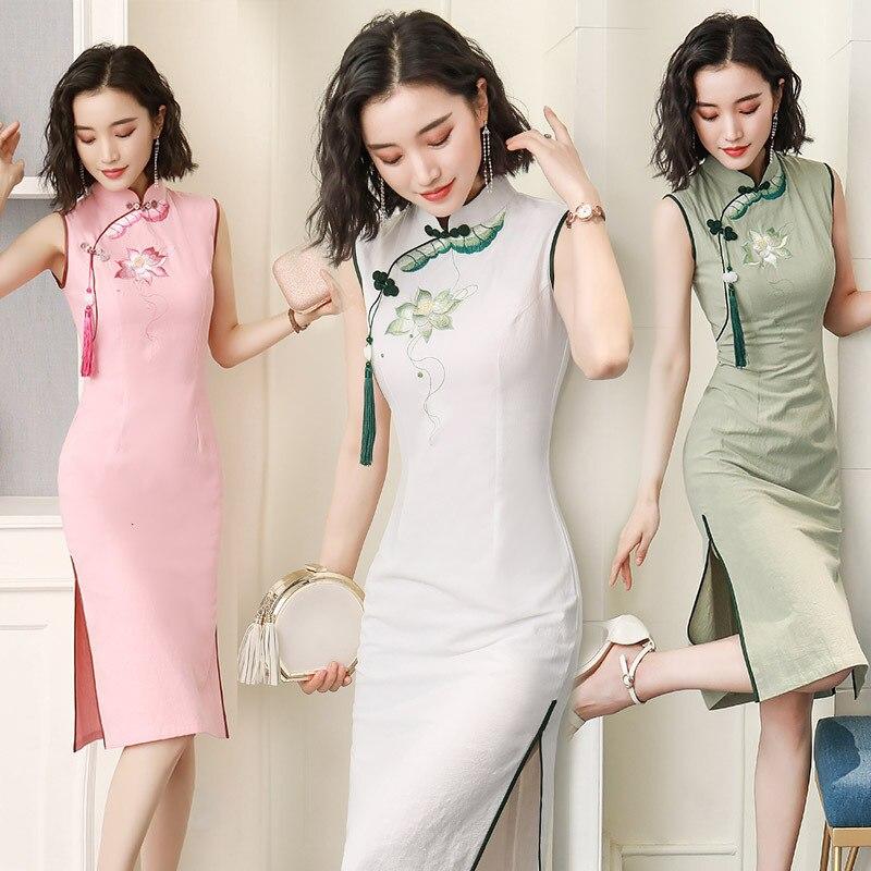 Sheng Coco Ladies Ramie Sleeveless Qipao Cheongsam Dresses Short Classic Sleeveless Modern QiPao Dress Chinese White Sleeveless
