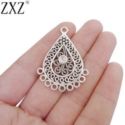 ZXZ 10pcs Waterdrop Chandelier Charms Multi Strand Connector 3mm Blank Cabochon Setting Earring Making Findings