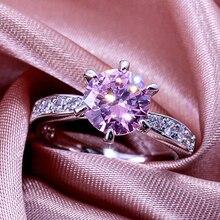 Модный медный серебристый цвет кристалл свадебные кольца для женщин Классический Синий Кубический Цирконий обручальные ювелирные Кольца Подарочные