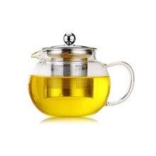Высокотемпературное сопротивление прозрачное боросиликатное стекло чайник элегантный из стекла чайная чашка чайник с заваркой из нержавеющей стали