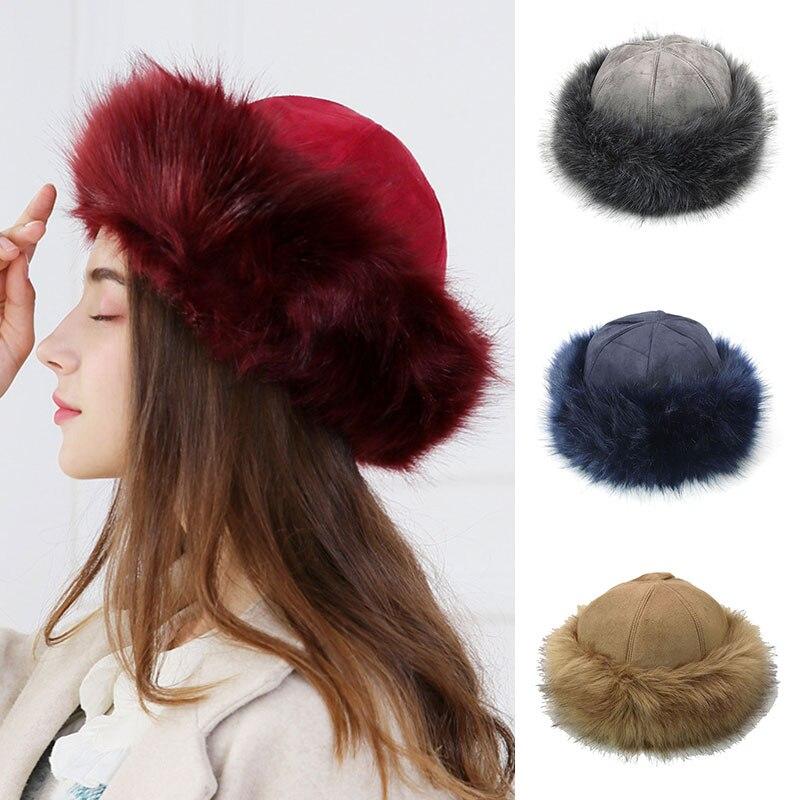 Chapéu de inverno feminino venda quente moda reto yurt-estilo camurça falso raposa chapéu simples colorido mais veludo grosso quente chapéu de esqui ao ar livre