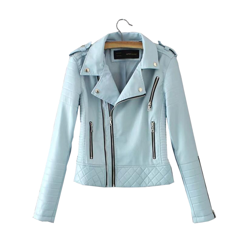 2019 New Fashion Women Soft Faux   Leathers   PU Jackets and Coats Lady Motorcyle Zippers Black Blue Spliced Street Outerwear