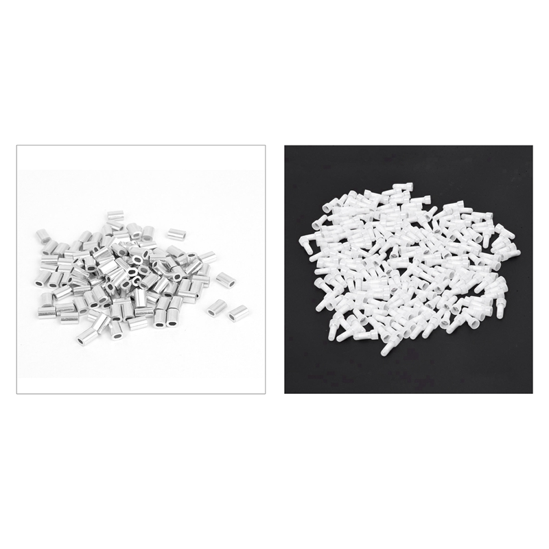 GTBL 200 Pcs CE1 Closed End Wire Connectors 22-18 Gauge Crimp Caps White & 100 Pcs 0.8Mm 1/32-Inch Wire Rope Aluminum Ferrules S