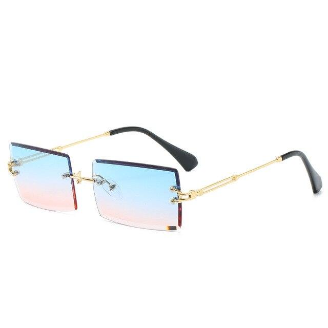 New Rimless Rectangle Sunglasses Women & Men Shades Brand Designer Gradient UV400 Sun Glasses Retro Frameless Sunglasses 5