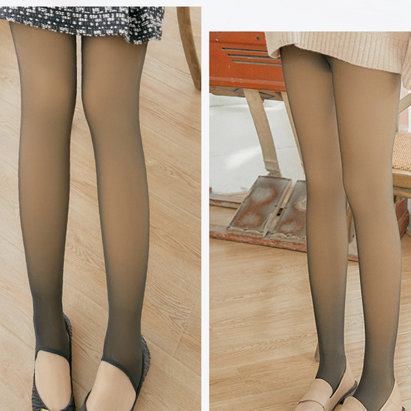 Fashion Women's Winter Tights Translucent Stockings Warm Fleece Pantyhose Slim Stretchy For Winter Outdoor Warm Leggings