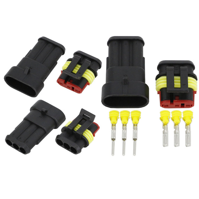 100 Sets 3 Pin AMP 1.5 Connectors DJ7031 1.5 Waterproof Electrical Wire Connector Xenon lamp connector Automobile car part