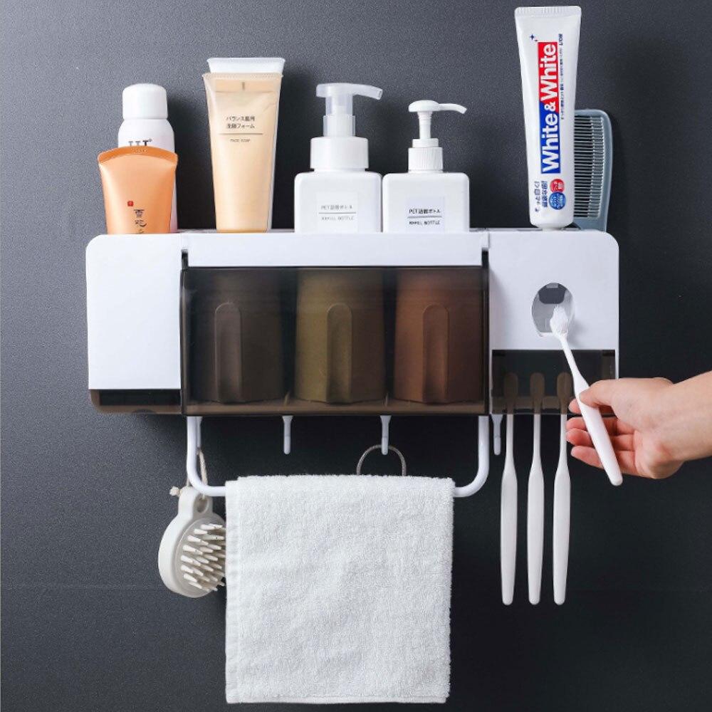 Ванная комната хранения моющиеся стойки настенный с полотенцем Бар крючок для зубной щетки держатель аксессуары набор автоматическая