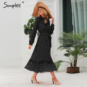 Image 5 - Simplee Autumn women party dress Elegant polka dot print female long party dress Holiday style ladies ruffle maxi dress vestidos