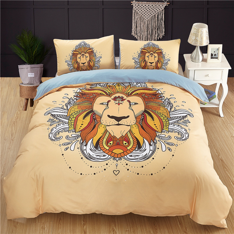 2/3pcs Lofty Dragon Lion Tiger Wolf Scorpion Butterfly 3D Design Duvet Cover Pillowcase Queen King Size Bedding Set No Bed Sheet