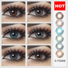 2 pcs/par lentes de contato coloridas do tom da série 3 da estrela para a composição dos olhos contatos coloridos macios da cor das lentes dos olhos