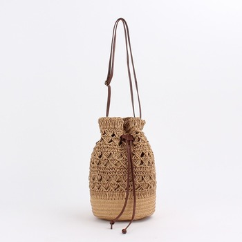 New Crocheted Female Bag Woven Straw Bag Female Bag Non-rattan Bag Backpack Beach Straw Bag Bucket Bag