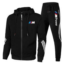 2021 New BMW M Men's Sports Suit Zipper Hoodie + Pants Two-Piece Casual Men's Suit Suitable ForRunning And Playing,Good Qualit