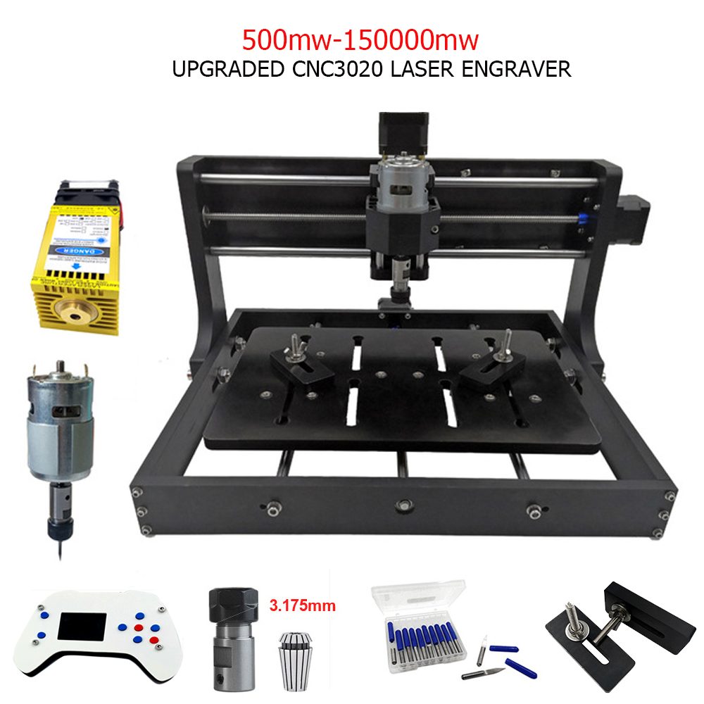 CNC3020 Laser Engraving Machine 3Axis Milling Wood Cut Router DIY Laser Engraver Support Offline Control 0.5W-15W Power