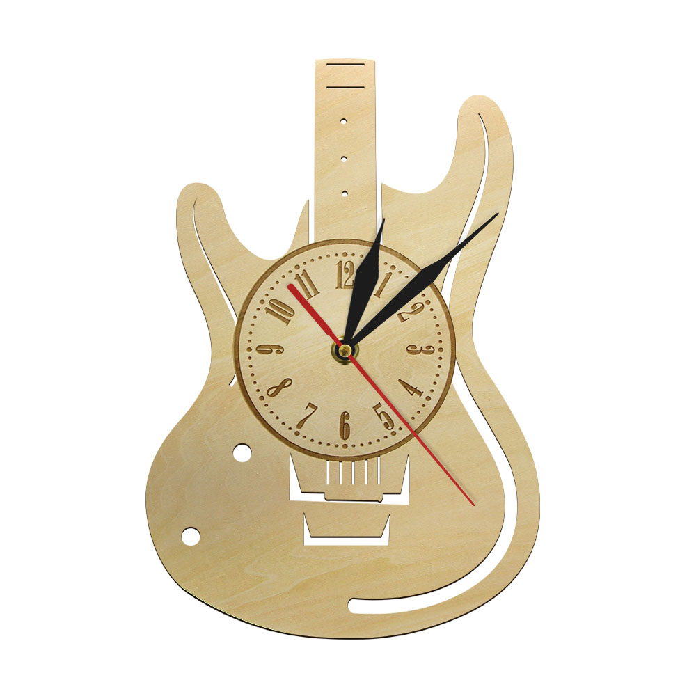 Music Themed Guitar Decorative Art 3D Wall Clock Natural Wood Wall Clock Modern Home Decor Wooden Time Clock