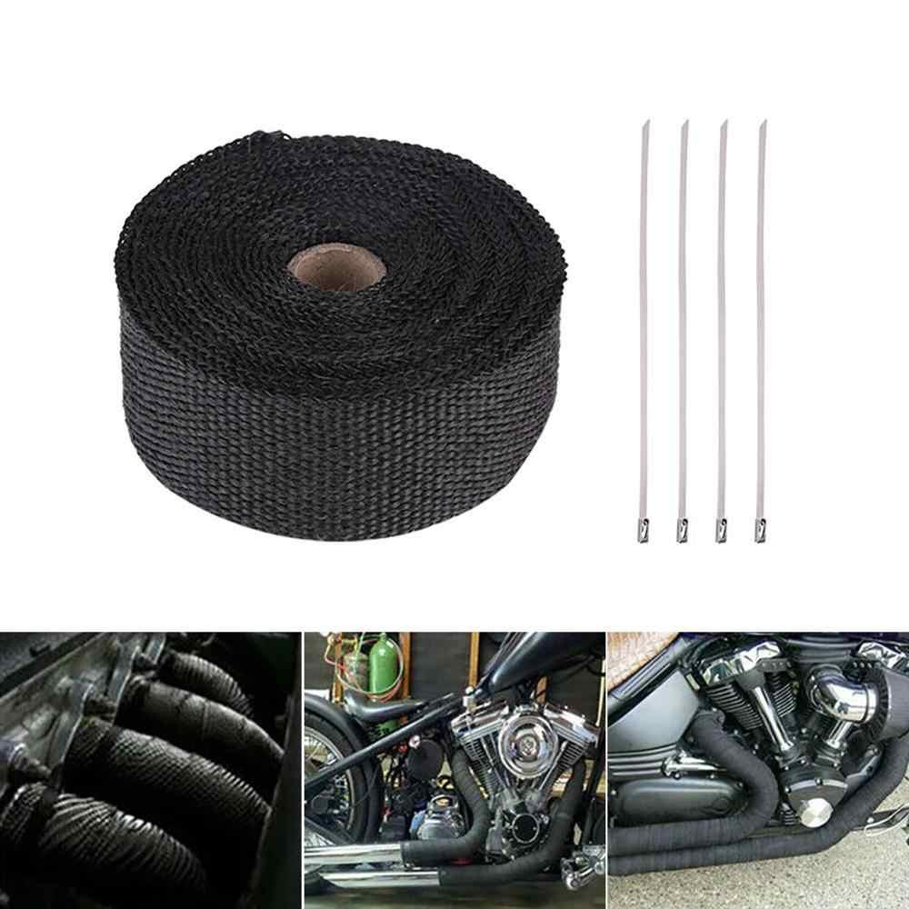 5 メートルロールグラスファイバー熱シールドオートバイ排気ヘッダパイプラップテープ熱保護 + 4 ネクタイキット排気パイプ断熱