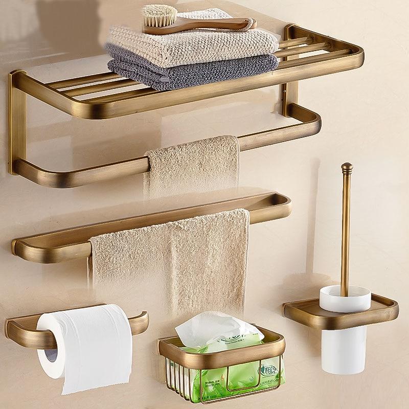 Antique Bronze Bathroom Accessories Sets Towel Shelf Towel Holder Toilet Paper Holder Robe Hook Bath Hardware
