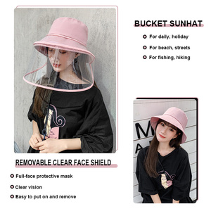 Image 2 - Men Women Dust Protection Bucket Hat Outdoor Travel UV Protect Fisherman Hats Sun Caps Protective Face Shield Transparent Mask