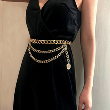 Fashion Tassel Coin Thick Belt Chain for Women Luxury Gold Silver All-match Meta