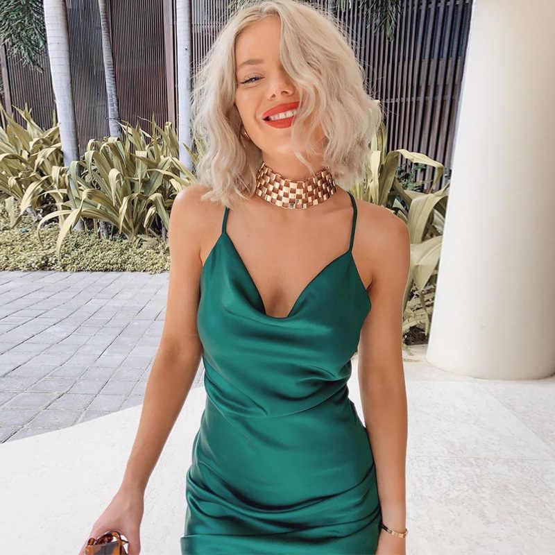 Abito longuette da donna in raso di seta cinturino con spacco laterale backless sexy streetwear 2020 abiti da festa cena elegante abiti vintage taglia