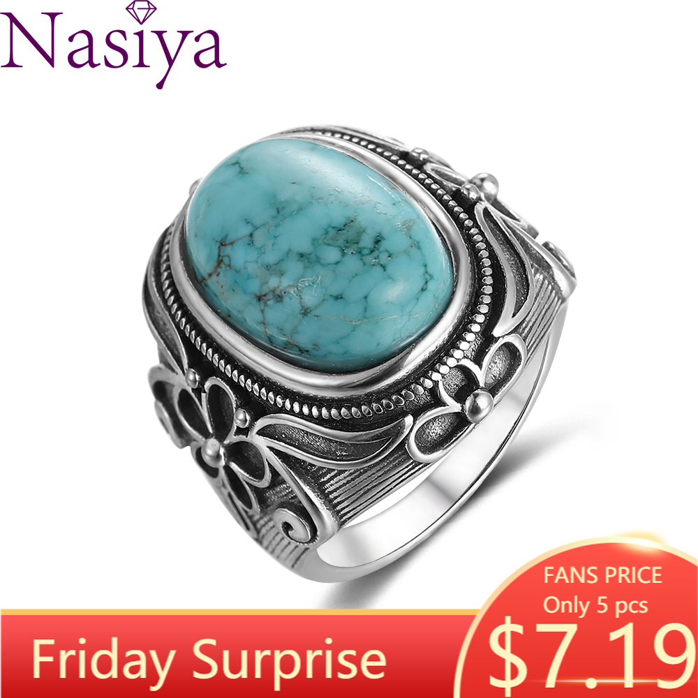 Natural Turquoise Ring Lady 925 Silver Jewelry Retro Party Ring 11X17MM Large Ellipse Gem Gift Wholesale