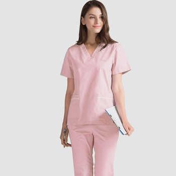 Plug Size S-4XL Medical Scrubs Hospital Nurse Scrub Set Medical Surgical Uniform Pure Cotton Beauty Salon Dentist Clinic Unifrom