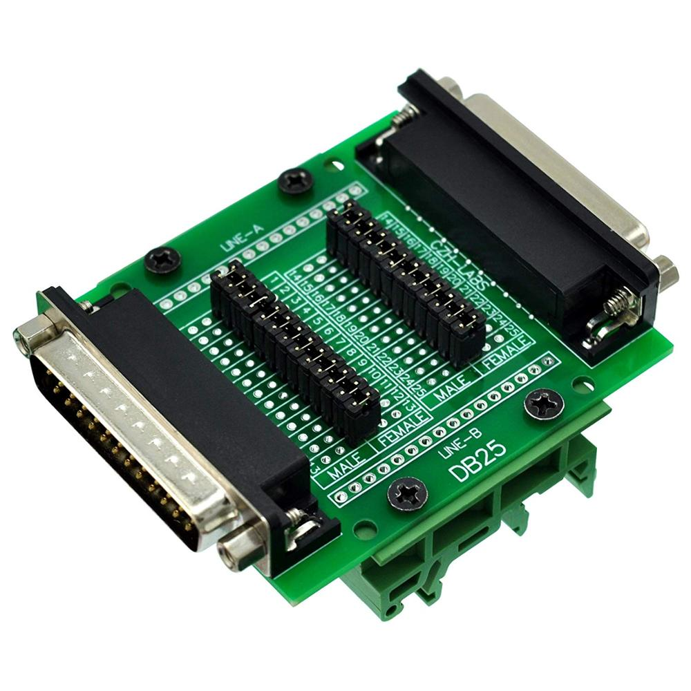CZH-LABS DIN Rail Mount D'sub DB25 Diagnostic Test Breakout Board, DSUB DB25 Connector Male To Female.