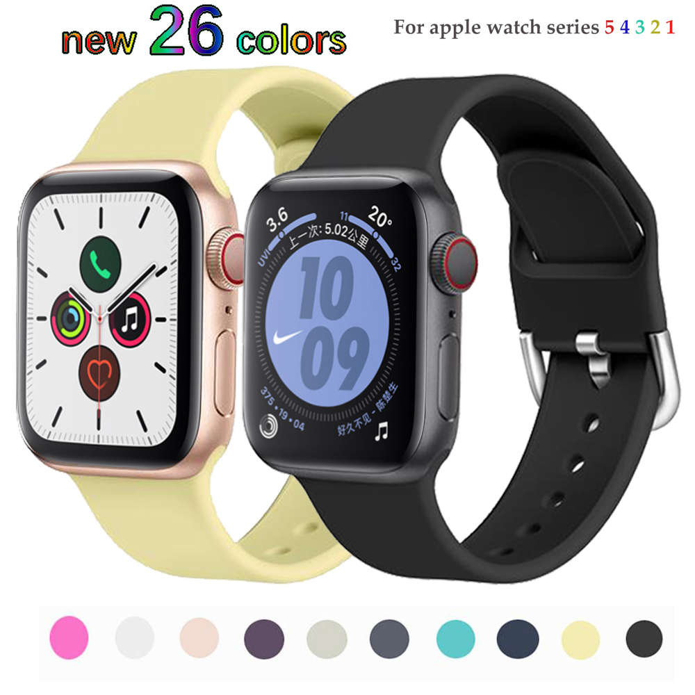 Strap For Apple Watch Band 5 4 3 Band 44mm 40mm IWatch 42mm 38mm Soft Colorful Silicone Bracelet Apple Watch 4 3 2 1 Accessories