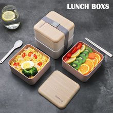 Lunch Box with Cutlery Set Double Layer Leak Proof Picnic Portable Container Box MYDING(China)