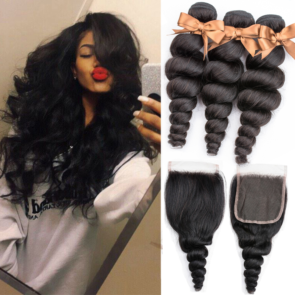 BEAUDIVA Brazilian Human Hair Weave Loose Wave Bundles With Closure Human Hair Extension Loose Deep Curly Bundles With Closure