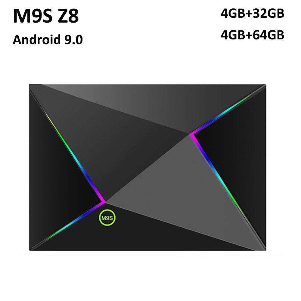 M9S Z8 Smart Tv Box Android9.0 2.4G WIFI LAN 10/100M 6K HD décodeur 4GB 32 GB/64 GB 3D 2.4G souris sans fil lecteur multimédia Youtube