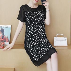 Image 1 - 48 100kg może nosić nowa moda Muyoms pełna miarka długość do kolan nieformalny bawełna kwiatowy długi rękaw szyfon Plus rozmiar sukienki koktajlowe koktajl sukienki na imprezę