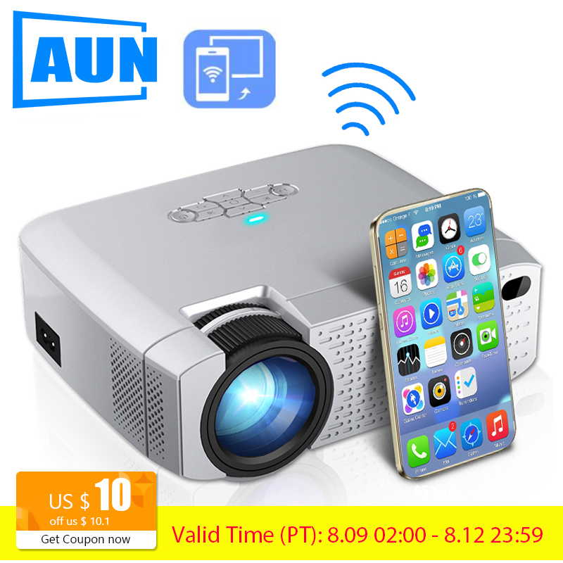 AUN LED Mini Projector D40W,Video Beamer for Home Cinema.1600 Lumens, Support HD, Wireless Sync Display For iPhone/Android Phone pedipaws pet nail trimmer