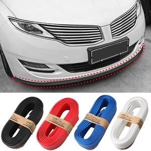 2.5m Car Bumper Strip Carbon Fiber Rubber Spoiler Bumpers Rubber Soft Black Trim Car Bumper Lip Strip Car Styling 55mm Width
