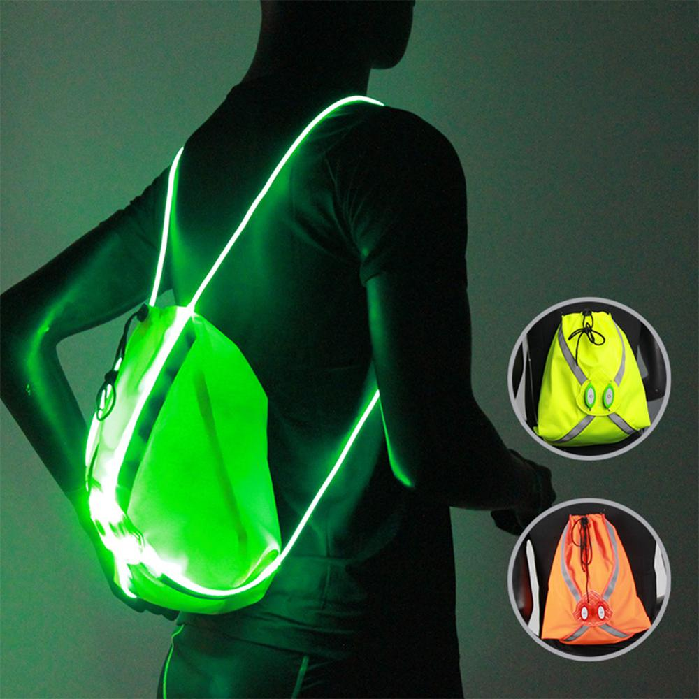 LED Волоконно-Оптического Луча Карман Спортивной Езды Ночью Запуск Световой Светоотражающие Рюкзак Альпинизм Мешок Открытый Оборудование