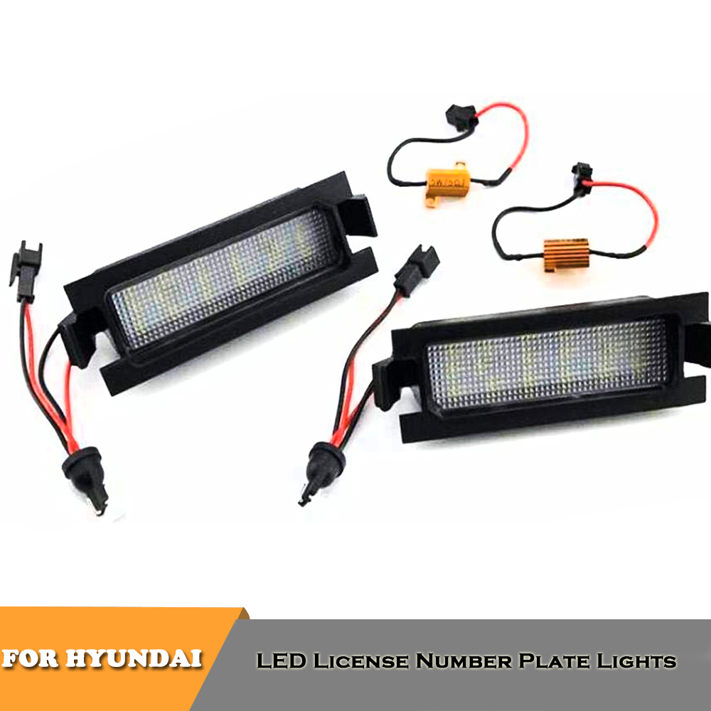 2x <font><b>18</b></font> <font><b>SMD</b></font> LED rear number license plate lights for Hyundai I30 car styling canbus no error white lamp image