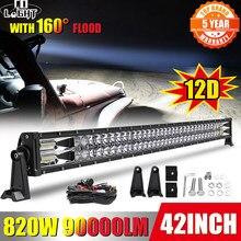 Co-light – barre lumineuse Led double rangée, éclairage à large faisceau, lampe de travail, 820W 12D, faisceau à large faisceau 90000LM, pour camion, SUV, ATV, 4x4
