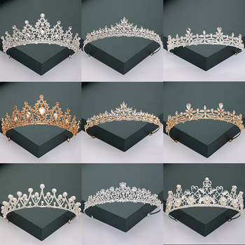 Gold Silver Color Tiaras And Crowns For Wedding Bride Party Crystal Pearls Diadems Rhinestone Head Ornaments Fashion Accessories 1