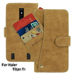 На Алиэкспресс купить чехол для смартфона vintage leather wallet haier titan t1 case 5дюйм. flip luxury card slots cover magnet stand phone protective bags