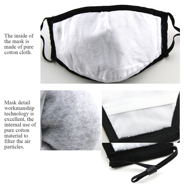 PM2.5 Cotton Adult Mouth Mask Anti Dust Valve Mask Activated Carbon Filter Windproof Mouth-muffle Bacteria Proof Flu Face Masks 3