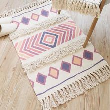 Handmade Tassled Mat Three-dimensional Tufted Cotton and Linen Door Carpet Bedside boho carpet